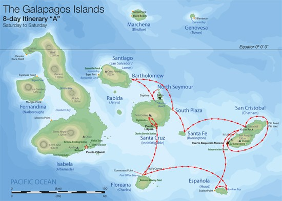 Map for Central & Southern Galapagos 8 Days A (Camila)